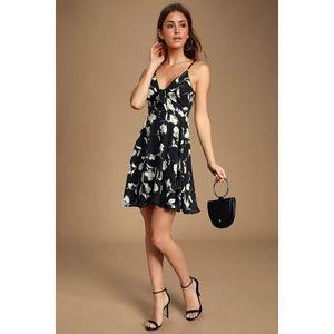 Lulus Zoya Black Floral Print Tie Front Dress